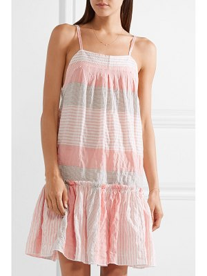 LEMLEM dera tiered striped cotton-blend gauze mini dress