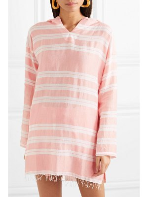 LEMLEM net sustain doro frayed striped cotton-blend gauze hoodie
