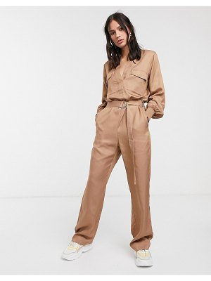 Levete Room utility jumpsuit in camel-brown