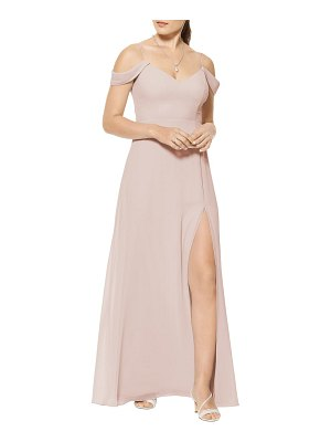 Levkoff # cold shoulder a-line chiffon gown