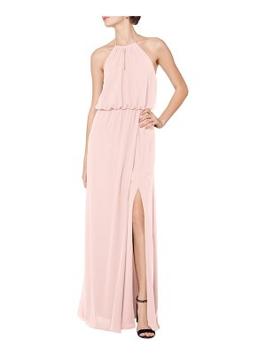 Levkoff # halter keyhole blouson chiffon evening dress