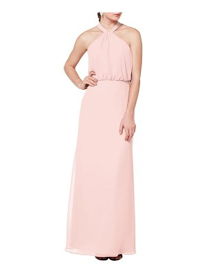 Levkoff # halter neck blouson bodice evening dress