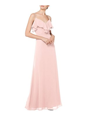 Levkoff # embellished ruffle neck chiffon a-line gown