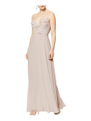 Levkoff # lattice v-back chiffon gown