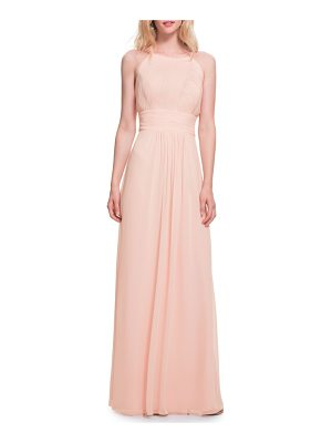 Levkoff # low back pleated chiffon gown