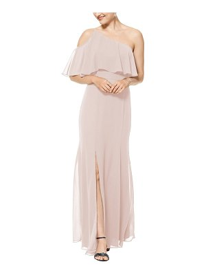 Levkoff # one-shoulder chiffon a-line gown