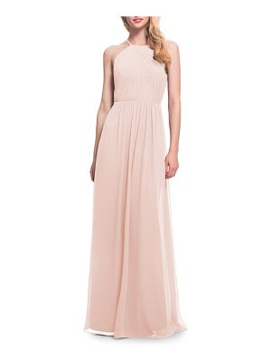 LEVKOFF # Open Back Halter Neck Chiffon Gown
