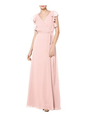 Levkoff # ruffle sleeve chiffon wrap evening dress