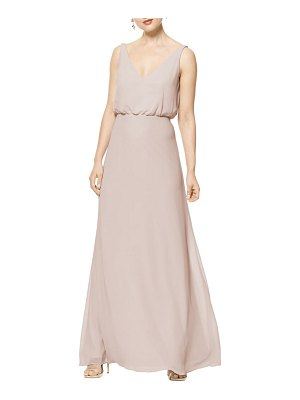 Levkoff # sleeveless v-neck chiffon gown