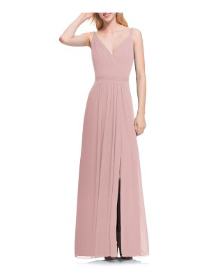 Levkoff # surplice neck chiffon a-line gown
