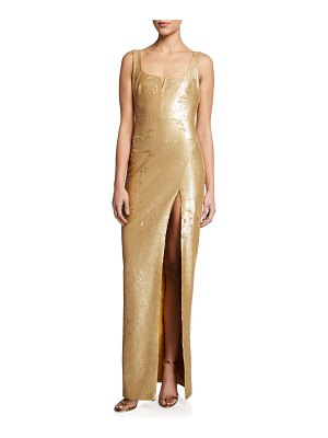 LIKELY Mineo Sequin Column Gown w/ Thigh Slit