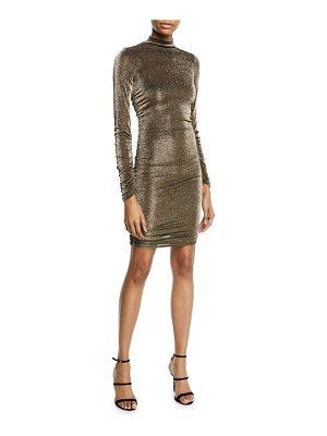 LIKELY Wylie High-Neck Metallic Long-Sleeve Dress