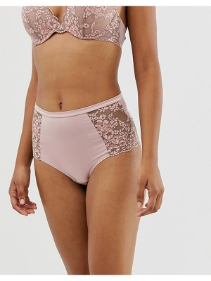 Lindex rose lace high waist brazilian underwear in dusty pink