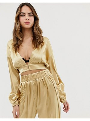 Lioness plunge front wrap top two-piece in gold
