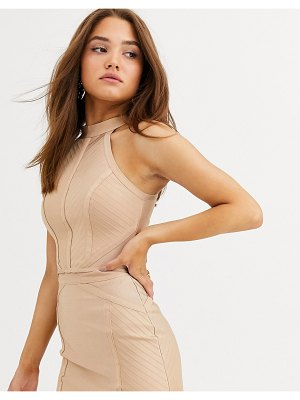 Lipsy bandage knitted top two-piece in camel