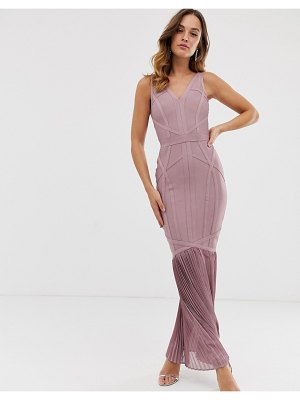 Lipsy bandage maxi dress with pleated fishtail in dusty violet