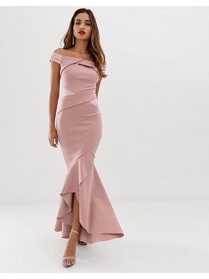 Lipsy bardot maxi dress with ruffle wrap front