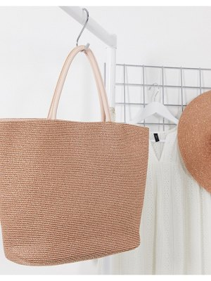 Lipsy beach bag with pu handle in rose gold-pink