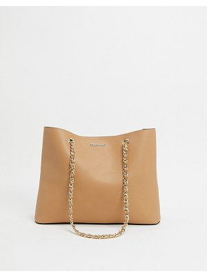 Lipsy chain strap shopper in camel-beige