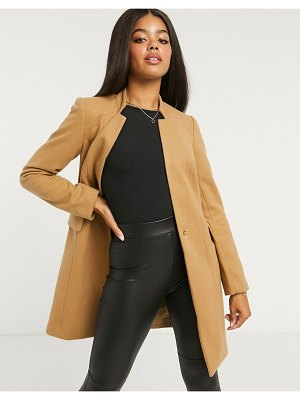 Lipsy crombie coat with zip pocket detail in camel-tan