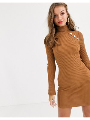 Lipsy high neck knitted dress with gold button detail in brown