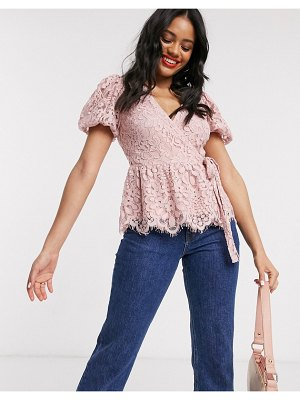 Lipsy lace wrap blouse with puff sleeves in pink
