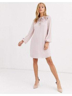 Lipsy long sleeve embroidered shift dress in pearl pink