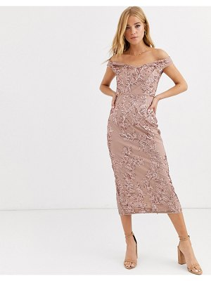 Lipsy off shoulder allover sequin pencil dress in rose gold-pink
