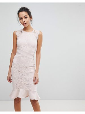 Lipsy Pencil Dress With Lace Panel And Fluted Hem