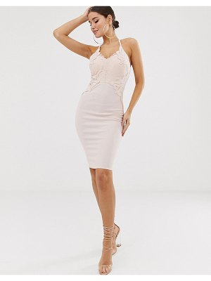 Lipsy plunge front applique bodycon dress in dusty pink