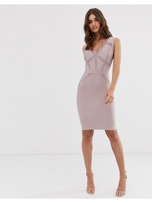 Lipsy plunge front bandage midi dress in dusty violet
