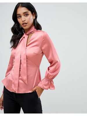 Lipsy rouleau button satin pussybow blouse in pink