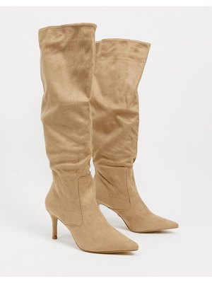 Lipsy ruched detail knee length boot in taupe-beige