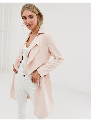 Lipsy soft duster coat in pink