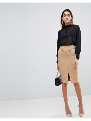 LIPSY Suedette Pencil Skirt With Buckle Detail