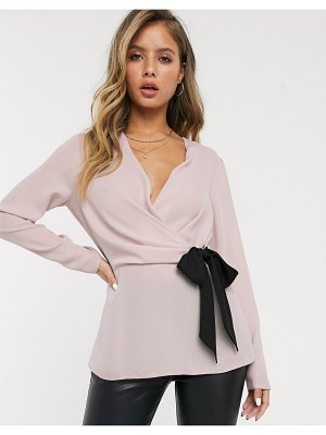 Lipsy tie front blouse in blush pink