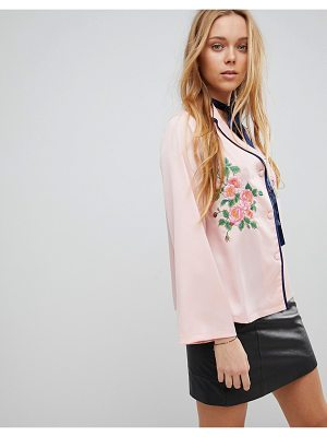 Liquorish Floral Embroidered Shirt