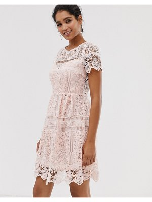 Liquorish lace overlay mini dress with open back detail