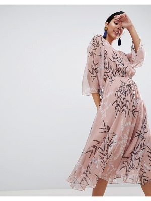 Liquorish Leaf Printed Midi Dress