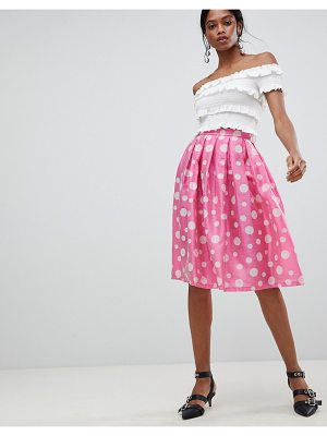 Liquorish polka dot pleated prom skirt
