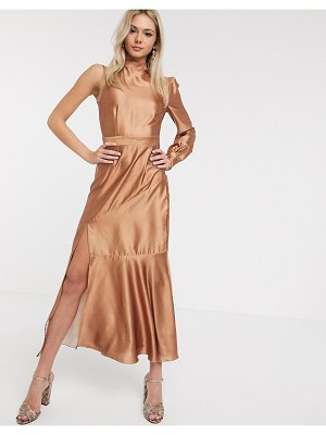 Liquorish satin midaxi dress with one shoulder in caramel