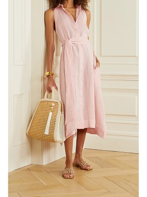 Lisa Marie Fernandez alison metallic linen-blend gauze midi dress