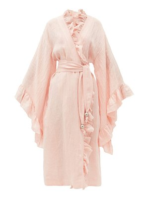 Lisa Marie Fernandez anita ruffled metallic linen-blend cover up