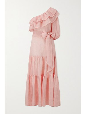 Lisa Marie Fernandez arden one-shoulder tiered linen-blend gauze maxi dress