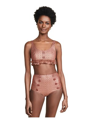 Lisa Marie Fernandez colby button high waisted bikini set