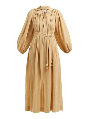 Lisa Marie Fernandez gathered balloon-sleeve cotton maxi dress
