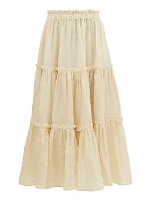 Lisa Marie Fernandez gathered linen midi skirt