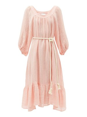 Lisa Marie Fernandez gathered metallic linen-blend gauze dress