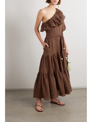 Lisa Marie Fernandez net sustain arden one-shoulder ruffled metallic linen-blend gauze maxi dress