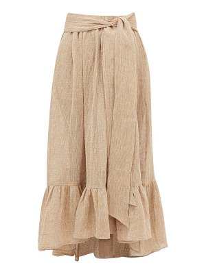 Lisa Marie Fernandez nicole gathered-hem linen-blend gauze maxi skirt